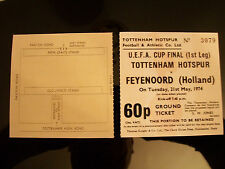 1974 U.E.F.A. Cup Final ticket 1st Jambe Tottenham Hotspur V FEYENOORD reproduit.