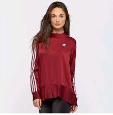 Adidas Originals W 3 Stripe Pleated Burgundy Sweatshirt Size UK 10, 12 New (712)