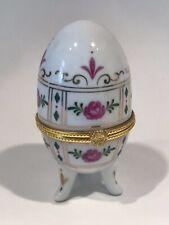 "Vintage White w/ Pink Flowers Porcelain Egg Trinket Box w/ Hinged lid 3.5"" tall"