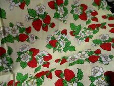 "VTG  Strawberry Cotton Fabric 18"" X 42"" W"
