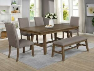 """NEW 5PC Weathered Brown 42"""" x 72"""" Table & 4 Chairs Dining Room Rustic Farmhouse"""
