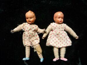 2 x Caco, Biegepüppchen,Metall ,Puppenhaus ,  50er , Zwillinge, 6 cm