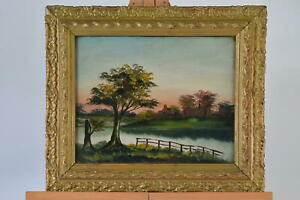 Antique Oil Painting in Original frame of a Evening Sunset River / Lake Scene