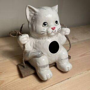 Vintage Ceramic Cat Swing Bird House, Hanging, Boho, Folk Art, Cat Lovers, EUC