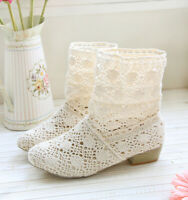 Ladies Lace Hollow Out Crochet Summer Ankle Boots Flat Heels Sweet Shoes Sandals