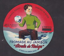 Ancienne étiquette Fromage Suisse BN23103 Fromage au jambon Boule de neige