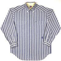 Vintage Tommy Hilfiger Shirt Button Mens Down S Size Crest Polo 90s Striped Logo
