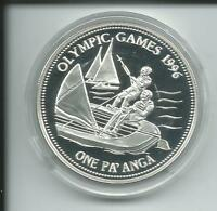 USA Münze Atlanta 1996 Olympiade TONGA Segeln One Pa'anga 28,3 Gramm  Silber PP