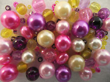 Glass Bead Mix / Bracelet Making Kit -  Pink, Purple & Yellow - Spring Posy