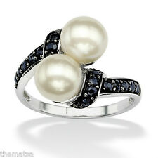 PLATINUM OVER STERLING SILVER SAPPHIRE AND CULTURED PEARL RING SIZE 5 6 7 8 9 10