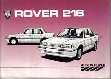 Rover 200-Series 216 1985-6 Original UK Owners Handbook S SE Vanden Plas Vitesse