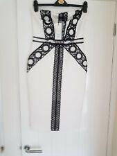 Lipsy strapless pencil dress size 12 black/white races occasion wedding