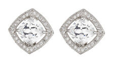 CLIP ON EARRINGS - luxury silver stud with a Cubic Zirconia stone - Noya S