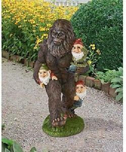 Design Toscano Schlepping Gnomes Bigfoot Yeti Garden Statue, 16 Inch, Full Color