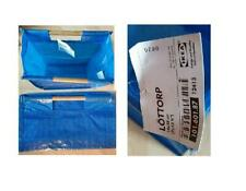 NEW IKEA LOTTORP SMALL 18 X 35 CM BLUE GROCERY TOTE BAG WITH WOODEN HANDLES