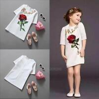 2-9Y Baby Kids Girl Toddler Fashion Flower Print Half Sleeve T-shirt Short Dress