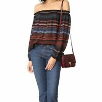 Joie 'Bamboo' Striped Off-The-Shoulder Blouse Caviar Size Med.MSRP $228 NWT
