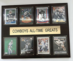 NFL Dallas Cowboys All-Time Greats Plaque Actual Trading Cards