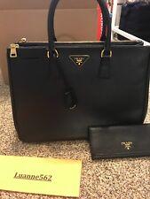 5b5599ebb2452 Authentic Prada Saffiano Lux Double Zip Tote Black