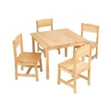 Kidkraft Farmhouse Table and 4 Chairs Natural Solid Wood Kids Desk 21421