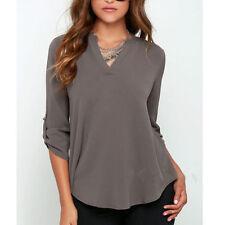 New Sexy Womens V-neck T Shirt OL Tops Blouse Casual Long Sleeve Chiffon