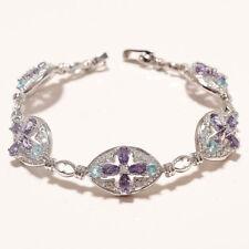 Natural Purple Blue Zircon Bracelet 925 Sterling Silver Women Fine Jewelry Gifts