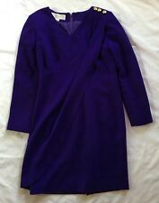 Women's Jones New York Purple 100% Wool Dress-Sz 8