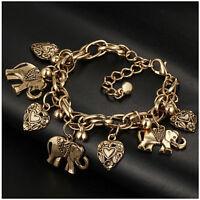 Mujer pulseras De Cadena Colgante Corazón Elefante Grano Brazalete Bracelets