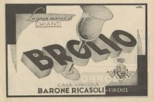 Z1196 BROLIO - Casa vinicola Barone RICASOLI - Pubblicità d'epoca - 1933 Old ad