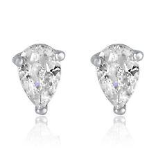 Silver Pear Cut White CZ Post Stud Earrings Cubic Zirconia Tear Solitaire Rhodiu