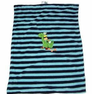TAGGIES Blue Green Aqua Dinosaur Tracks Baby Blanket Stripe Security 30x40 EUC