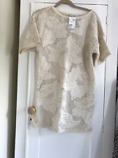 H&m Trend Cream Embroidered Cut Out Crochet Dress Big Size 6 BNWT