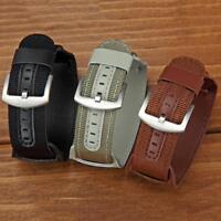18/20/22/24mm Nylon&Leather Bund Strap Mens Army Military Watch Band Cuff B A6G2