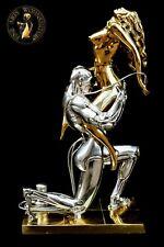Bronze Skulptur Techno Lover Bronzefigur  Akt Metall Luxus Gold Erotik Sex Liebe