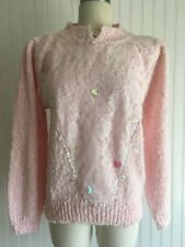NOS VTG 1980's Nubbly PINK LACE Pullover SPRING Sweater SEQUINS Fairy Kei PASTEL