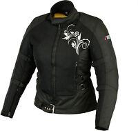 Damen Motorrad Jacke Motorradjacke Textil Schwarz.Sommer Jacke Gr.S M L XL XXL.
