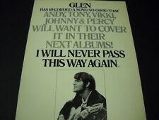 GLEN CAMPBELL Andy, Tony, Vikki, Johnny & Percy will want. 1972 PROMO DISPLAY AD