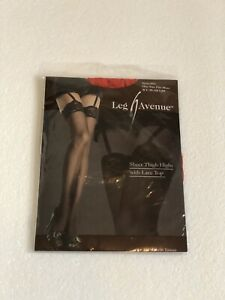 Leg Avenue Sheer Thigh Highs with Lace Top RED Style 1101