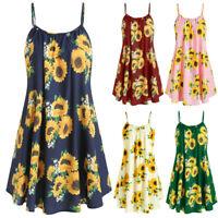 Women Slash Neck Sleeveless Draped Sunflower Print Strap Mini Dress P