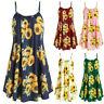 Women Slash Neck Sleeveless Draped Summer Sunflower Print Strap Mini Dress