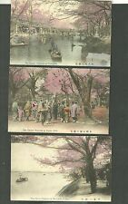 3 Pre 1920 Japanese Postcards Cherry Blossoms At Yedogawa Uyeno Park Mukojima