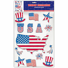 14 Piece USA AMERICA 4th July Independence Day Party Window Clings Decorations