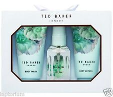 New Ted Baker Bath Time Mini's Trio Blue Gift Box Body Wash/ Lotion/ Spray