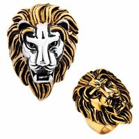 Men's Lion King Head Punk Biker Rings Size Q-Z 316L Stainless Steel Jewelry