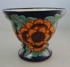 Mexican Ceramic Flower Footed Planter Folk Art Pottery Handmade Talavera # 04