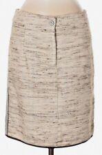 NWT Eva & Claudi Neutral Tones Silk Tweed Rear-Lace-Up Skirt Size 40