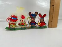 Vintage Easter Hanging Ornaments Bunny Rabbit Chick Chicken Wood