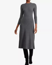 POLO RALPH LAUREN Knit Fit & Flare Dress In Gray Size Large NWT $168