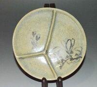 Giapponese Vecchio Piatto Piastra Ceramica Vintage Inchiostro Pittura Fiore
