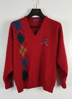 The Sweater Shop Vintage Mens Red Pure Wool Argyle 80s Sweater Jumper Size XL